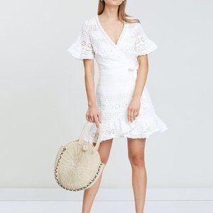 TIGERLILY Speranza White Mini Wrap Dress RRP$240